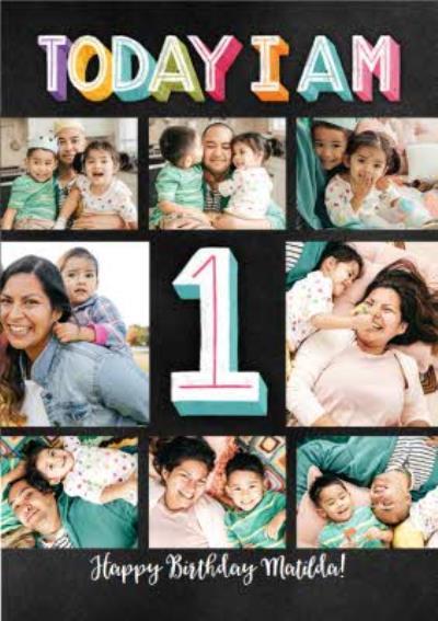 1st Birthday Multi Photo Upload Card