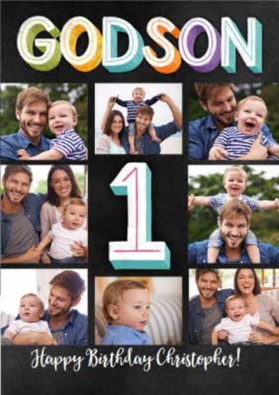 Godson 1st Birthday Multi Photo Upload Card