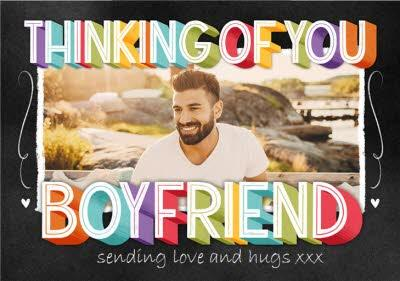 Typographic Chalkboard Thinking Of You Boyfriend Photo Upload Card