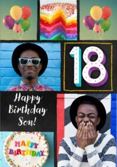 Colourful Typographic Son 18th Birthday Photo Upload Card