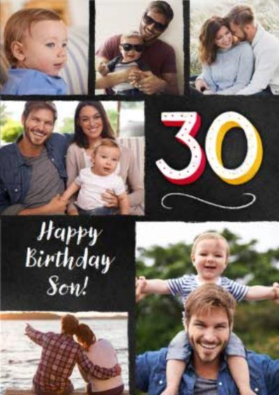 Colourful Typographic Son 30th Photo Upload Birthday Card