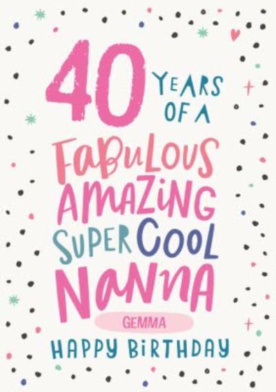 Cute Polka Dot Typographic Customisable Nanna Birthday Card