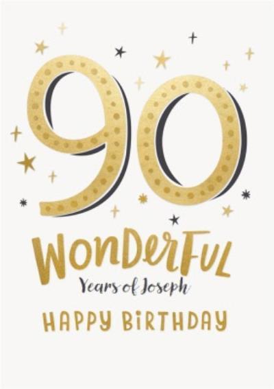 Golden Stars Typographic Customisable 90th Birthday Card