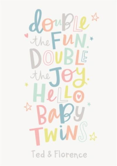 Cute Colourful Lettering New Baby Twins Arty Male Female Card