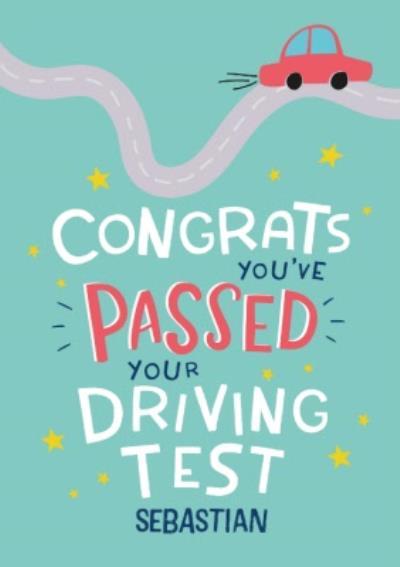 Modern Fun Illustration Personalise Name Passed Driving Test Card