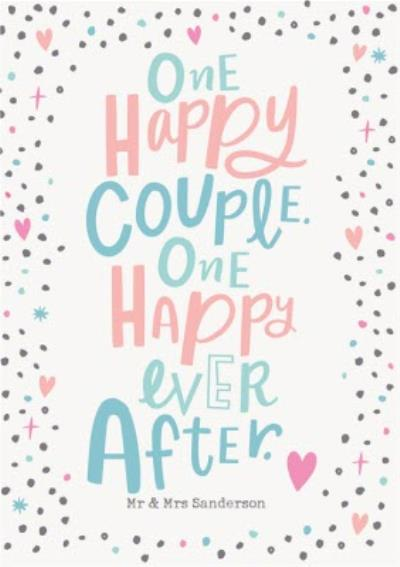 Cute Typographic Happy Ever After Wedding Congratulations Card