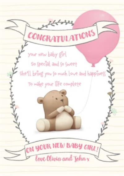 Cute new baby girl card