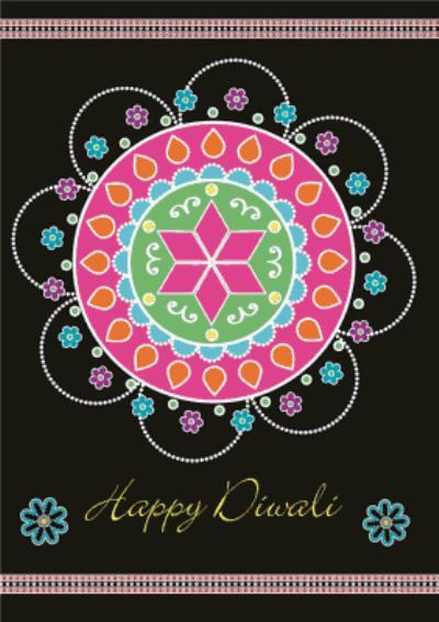 Black And Colourful Rangoli Pattern Personalised Happy Diwali Card