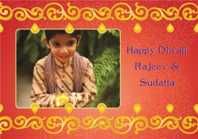 Red And Metallic Gold Happy Diwali Photo Card