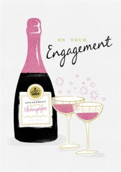 On Your Engagement Champagne Bubbles Card