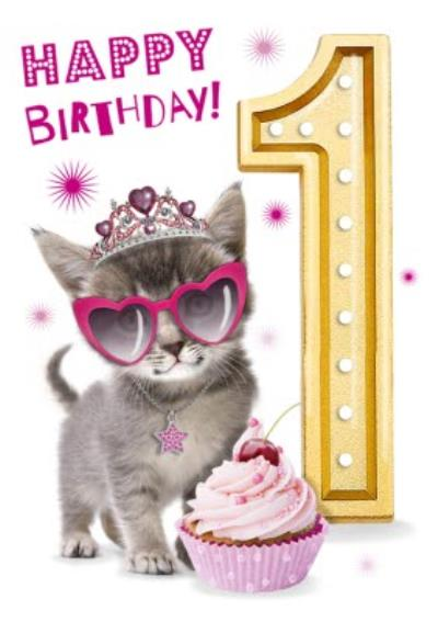 Cute Kitten With Cupcake 1st Birthday Card