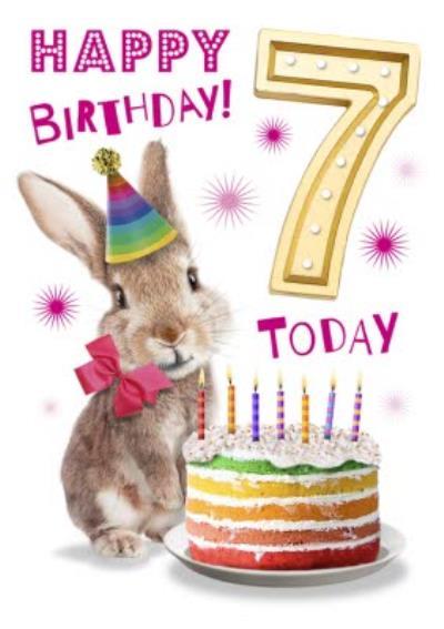 Cute Rabbit With Cake 7th Birthday Card