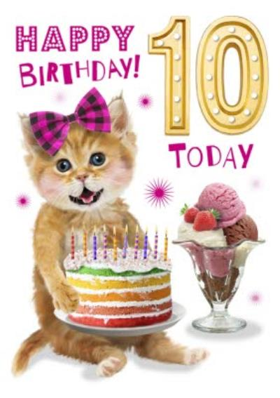 Cute Kitten With Cake 10th Birthday Card