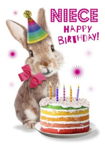Cute Rabbit With Cake Niece Birthday Card