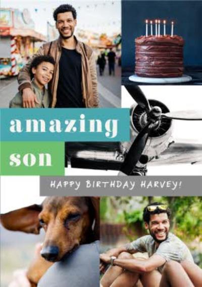 Photo Upload Collage Amazing Son Happy Birthday Card