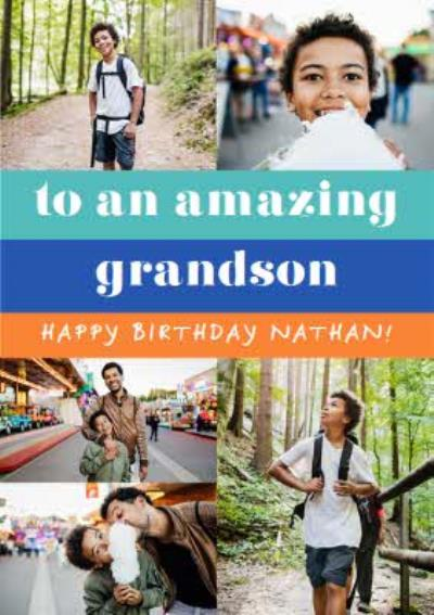 Euphoria Photo Upload To An Amazing Grandson Birthday Card