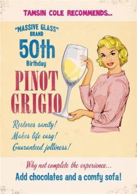 Massive Glass Of Wine Personalised 50th Birthday Card Moonpig