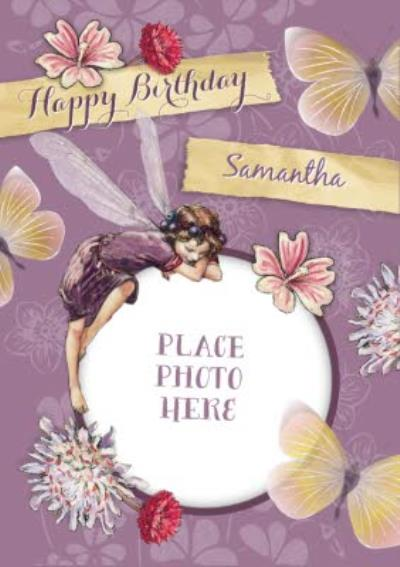 Violet Flowers, Butterflies And Berry Fairy Photo Upload Happy Birthday Card