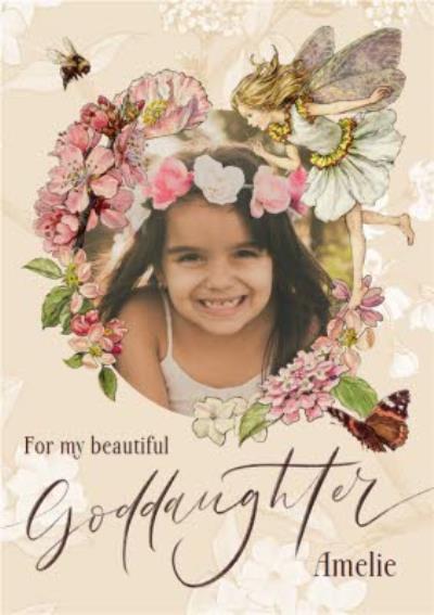 Flower Fairies Beautiful Goddaughter Photo Upload Birthday Card