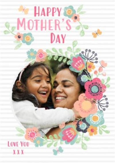 Pink Stripes And Bright Flowers Photo Upload Mother's Day Card