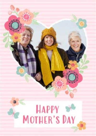 Striped And Flower Design Happy Mothers Day Photo Card