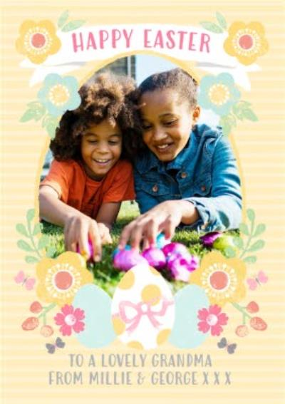 Yellow Striped Egg And Flower Happy Easter Photo Card