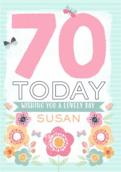 Colourful Flowers Happy 70Th Birthday Personalised Name Card