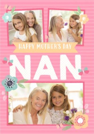 Pink Striped To My Nan Mother's Day Photo Card