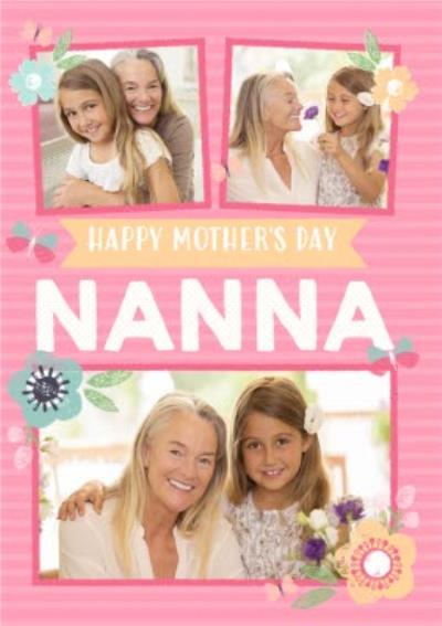 Pink Striped Happy Mother's Day Nanna Photo Card