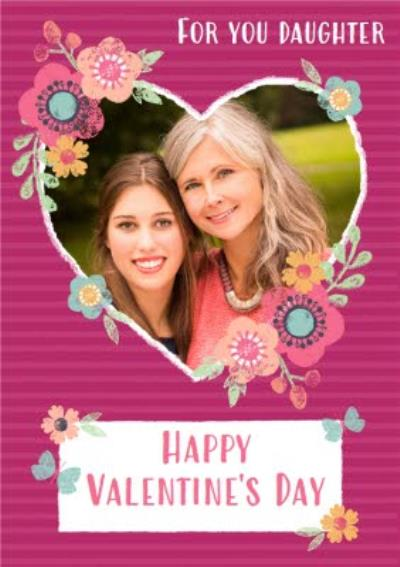 Pastel Flowers Heart Photo Upload Personalised Valentine's Day Card For Daughter