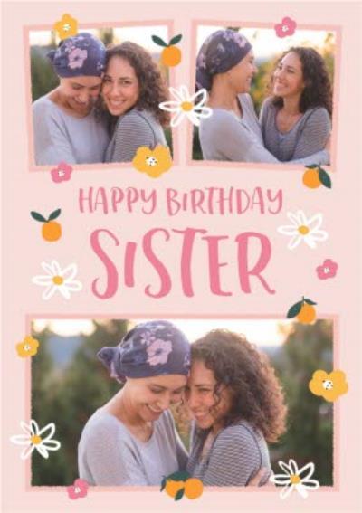 Folk Flowers Photo Upload Happy Birthday Sister Card