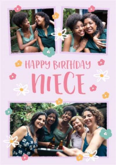 Folk Flowers Photo Upload Happy Birthday Niece Card