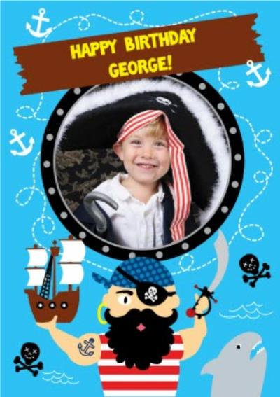Cartoon Pirates Happy Birthday Photo Card