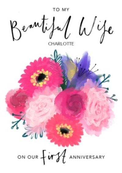Bright Pink Watercolour Flowers Beautiful Wife First Anniversary Card