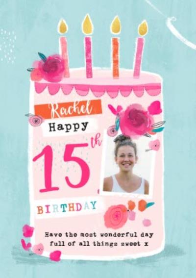 Cute Modern Birthday Card Happy 15th Birthday Photo Upload