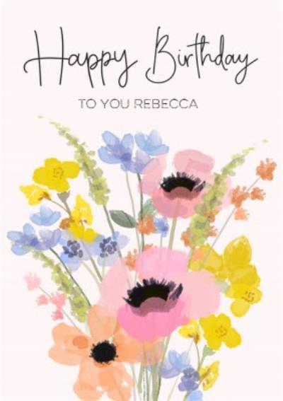 Floral Bunch Of Flowers Happy Birthday Card