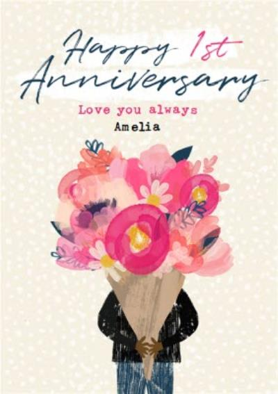 Floral Watercolour Happy 1st Anniversary Card