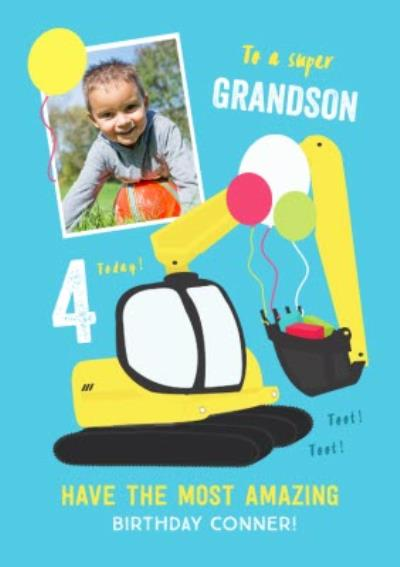 To A Super Grandson Bright Colourful Age 4 Photo Upload Birthday Card