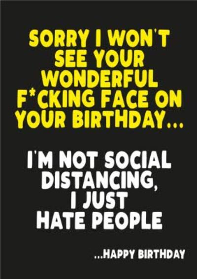 Covid 19 Social Distancing Happy Birthday Card