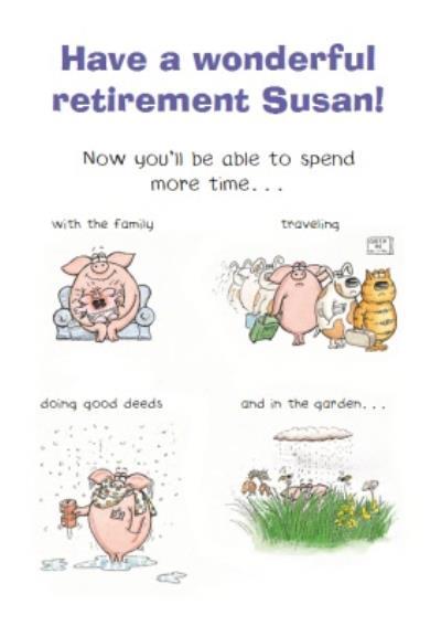 Funny Pig Retirement Card