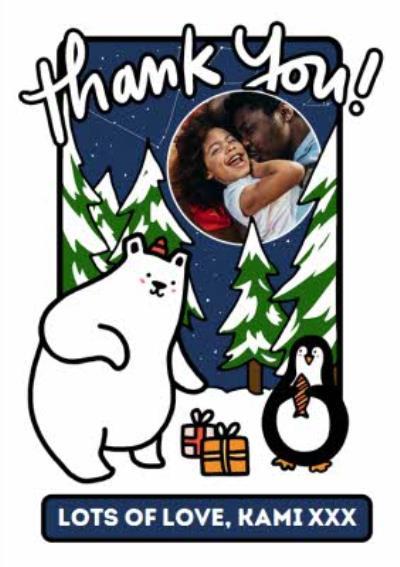 Cute Penguin Polar Bear Snow Scene Photo Upload Christmas Thank You Card