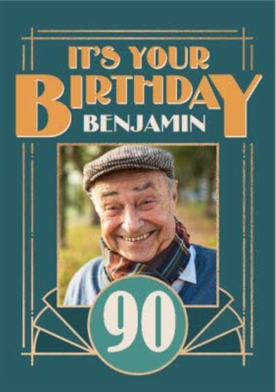 Art Deco Happy 90th Birthday Photo Upload Birthday Car