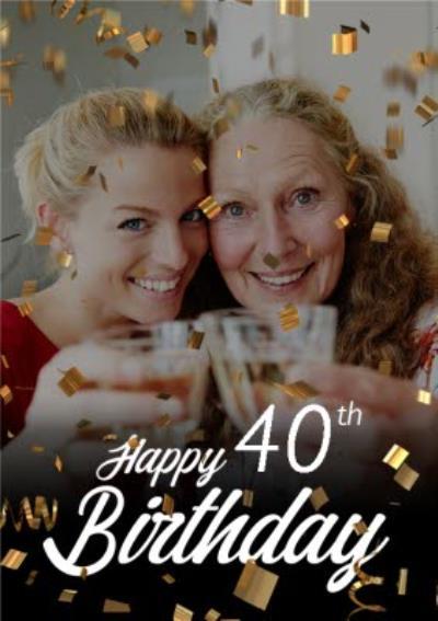 Happy Birthday Age Gold Confetti Photo Upload Card