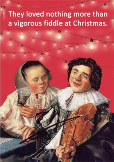 They Loved Nothing More Than A Vigorous Fiddle At Christmas Vintage Funny Rude Card