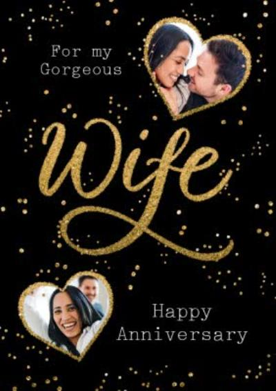 Metallic Lettering Gorgeous Wife Happy Anniversary Photo Upload Card