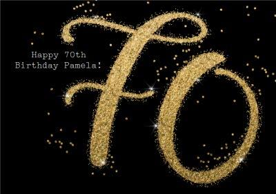 Metallic Gold Glitter 70th Personalised Birthday Card