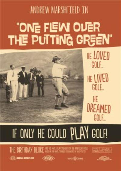 One Flew Over The Putting Green Film Golf Poster Personalised Card