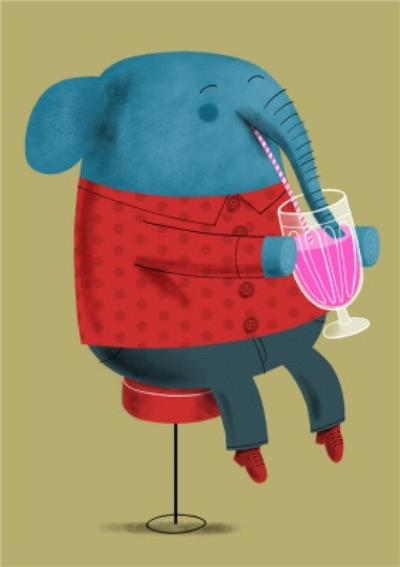 Modern Cute Illustration Elephant Drinking Milkshake Card