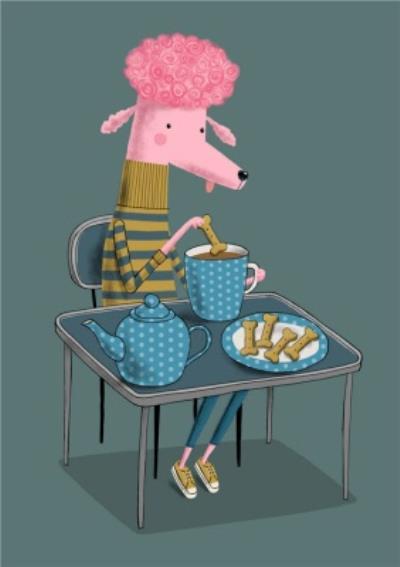 Modern Cute Illustration Poodle Drinking Tea Card