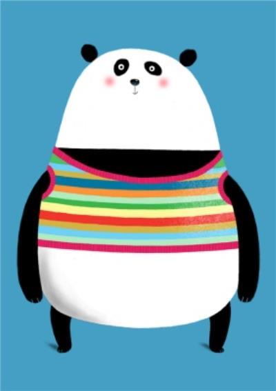 Modern Cute Illustration Panda In Knitted Jumper Card